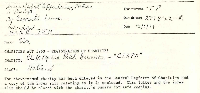Original Registration Letter 1979