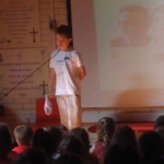 Josh talking to school, fundraising friday