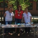 Sian at the bake sale, fundraising friday
