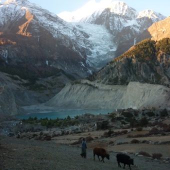 The lake and glacier of Gangapurna (7454m) above the Tibetan village of Manang. This village marks the first acclimatisation stop before venturing higher.