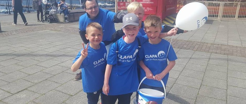 Oliver and friends at the CLAPA Cardiff Bay Sponsored Walk