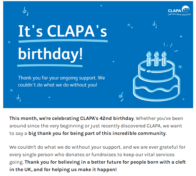 A screenshot of a dark blue graphic reading 'It's CLAPA's Birthday!' next to a turquoise icon of a birthday cake.