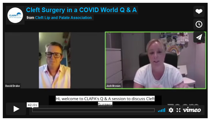 A screenshot of two people on Zoom with the title: 'Cleft Surgery in a COVID World Q & A'
